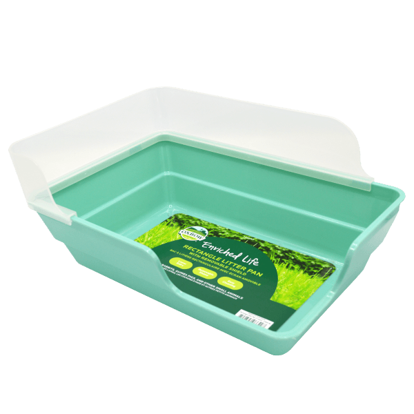 Enriched Life - Rectangle Litter Pan with Removable Shield